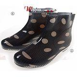 下雨不怕破壞OL造型 低跟雨鞋上市-大圓點款