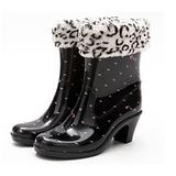 下雨不怕破壞OL造型 高跟雨鞋上市-粉點款 (四季都可穿, 鞋套可拆)