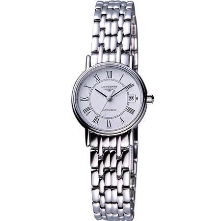 LONGINES Presence 經典羅馬鋼帶機械女錶(L43214116)-銀/25.5mm