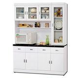 【日式量販】夏洛克5尺白色碗盤櫃/收納櫃(上+下)