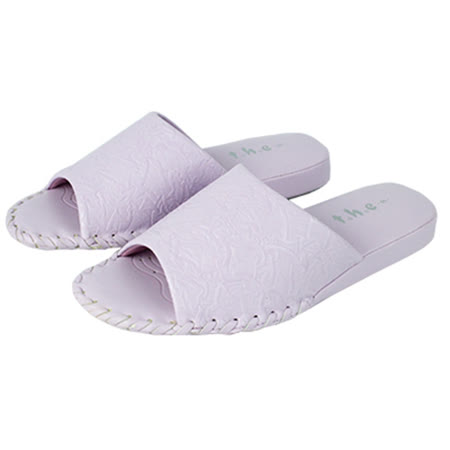 t.h.e拖鞋公主【T002】亮麗浮雕室內女拖-紫