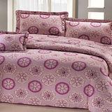 《印象花語粉》100%純棉加大四件式床包被套組(台灣製)