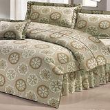 《印象花語卡其》100%純棉加大四件式床包被套組(台灣製)