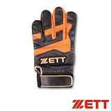 【ZETT】高擊綿羊皮打擊手套 BBGT-343 黑橘(單只)