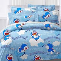 【享夢城堡】哆啦A夢 飛飛樂系列-精梳棉雙人床包兩用被組(藍)
