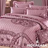 《HOYACASA 濃郁情深》雙人八件式緞面兩用被床罩組
