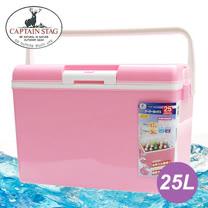 【日本鹿牌 CAPTAIN STAG】日本製 保冷冰箱(附背帶) 25L 冰桶/粉紅 M-8150