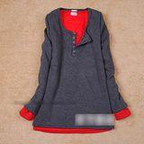 【韓系女衫】冬裝保暖新款大尺碼內裡刷絨毛中長款棉T