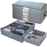 《超值3入》竹炭收納盒30格+12格+收納箱90L