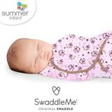 美國 Summer Infant SwaddleMe 嬰兒包巾 【純棉薄款- 親親小猴】大號 - 可調式懶人包巾