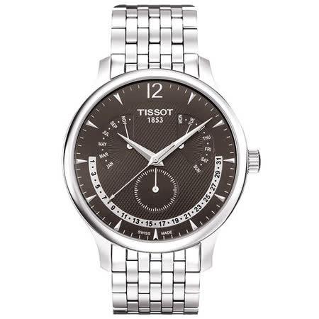 TISSOT Tradition 逆跳復刻經典腕錶(T0636371106700)-灰/銀