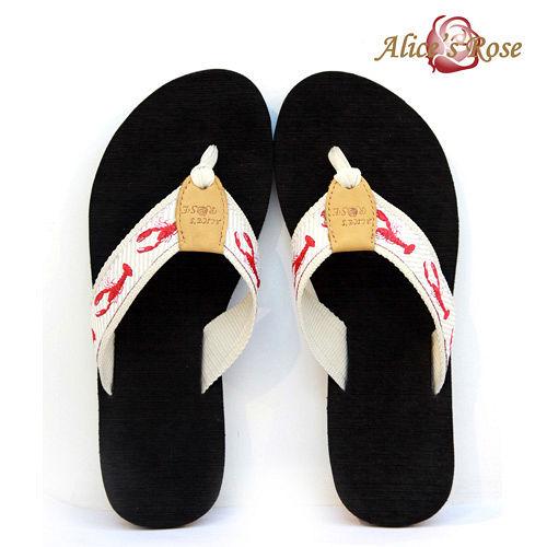Alice s Rose海洋風人字拖鞋^(淺卡其龍蝦^)