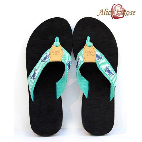 Alice s Rose海洋風人字拖鞋^(藍色螃蟹^)