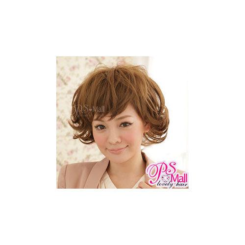 PS Mall╭*日系俏麗儉約 短捲髮假髮 亞麻色【F0328】