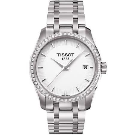 TISSOT T-Trend Couturier Lady 時尚簡約鑽錶(T0352106101100)