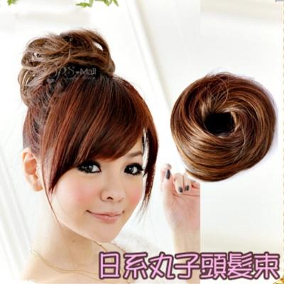 PS Mall╭*日系可愛甜甜圈丸子頭髮量加多髮圈/髮束假髮 增量型丸子 盤髮器 韓 髮【P001】