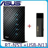 華碩 ASUS RT-N53 雙頻 300+300Mbps無線N路由器+華碩 USB-N13 Pro N 無線網卡