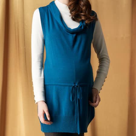 【ohoh-mini孕婦裝】清新柔美大翻領針織孕婦長版上衣