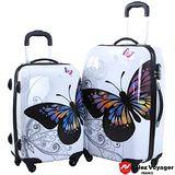 【法國Allez Voyager奧莉薇閣】彩蝶飛舞20+24吋PC輕量行李箱二件組
