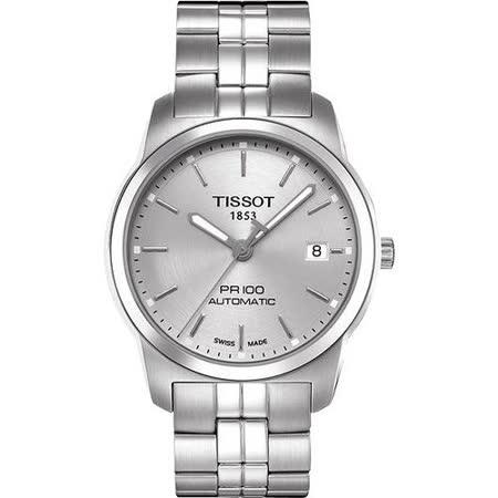 TISSOT PR100 都會紳士 機械腕錶(T0494071103100)-銀