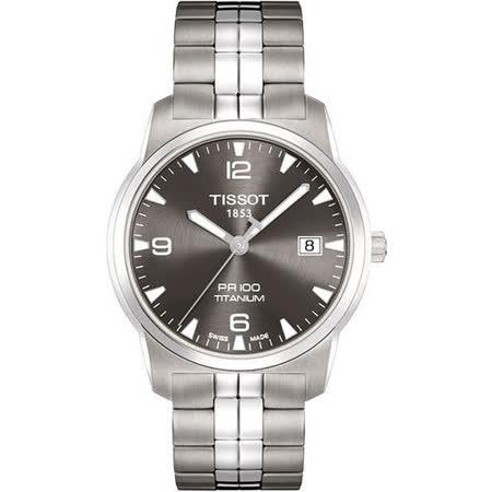 TISSOT PR100 經典瑞士石英鈦金屬腕錶(T0494104406700)-鐵灰