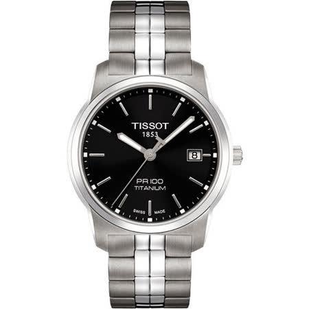 TISSOT PR100 經典瑞士石英鈦金屬腕錶(T0494104405100)-黑