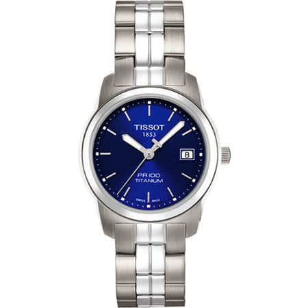 TISSOT PR100 經典瑞士石英鈦金屬女錶(T0493104404100)-藍