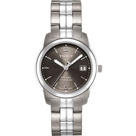 TISSOT PR100 經典瑞士石英鈦金屬女錶(T0493104406700)-鐵灰