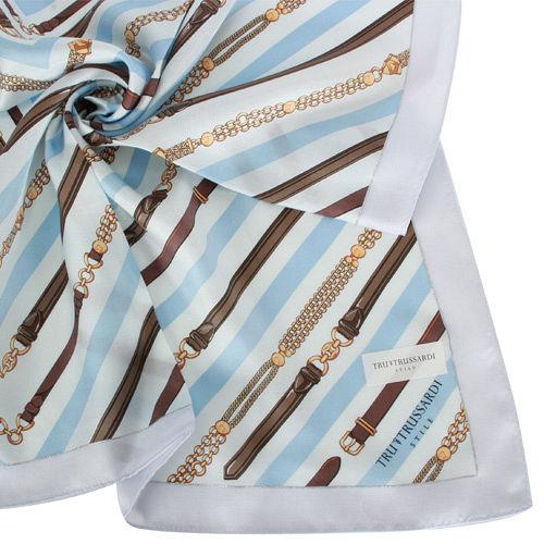 TRUSSARDI 斜紋鍊飾領帕巾-藍
