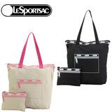 【Lesportsac】極簡零錢包圖案托特購物袋。2色可選
