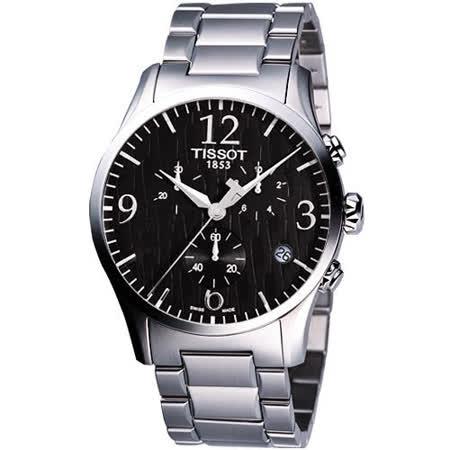 TISSOT Stylis-T 圖騰三眼計時大錶徑腕錶 (T0284171105700)-黑