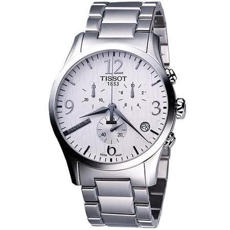 TISSOT Stylis-T 圖騰三眼計時大錶徑腕錶 (T0284171103700)-銀