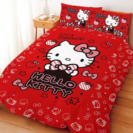 【享夢城堡】HELLO KITTY 貼心小物系列-雙人四件式床包兩用被組(粉)(紅)