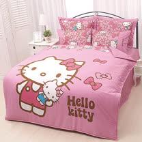 【享夢城堡】HELLO KITTY 我的娃娃系列-雙人純棉四件式床包兩用被組