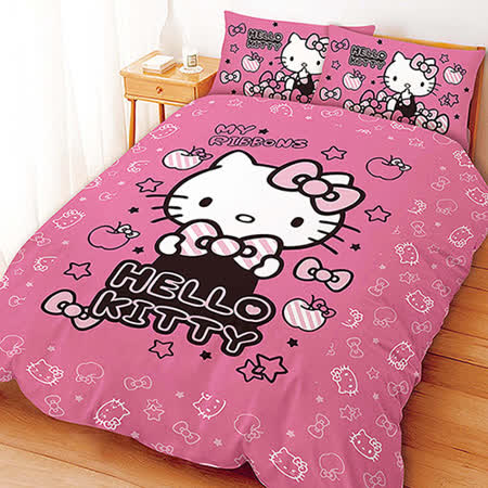 【享夢城堡】HELLO KITTY 貼心小物系列-單人三件式床包薄被套組(粉)(紅)