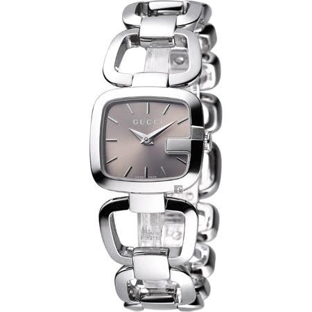 GUCCI G-Gucci 經典品牌手鍊錶(YA125507)-香檳面/銀