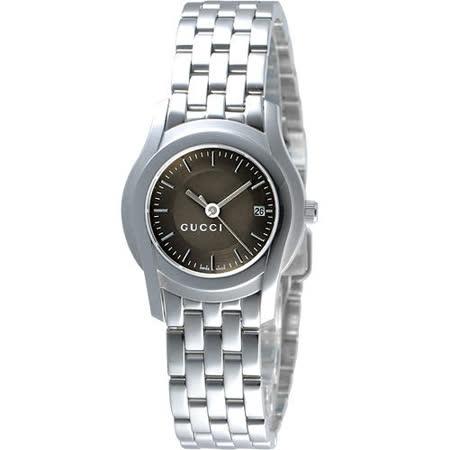 GUCCI 5505 都會經典時尚女錶(YA055524)-咖啡