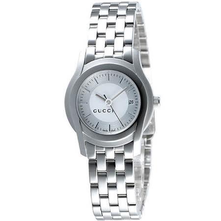 GUCCI 5505 都會經典時尚女錶(YA055519)-銀白