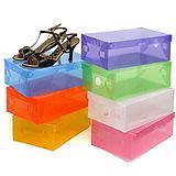 (超值10入)彩色掀蓋式透明鞋盒-不挑色