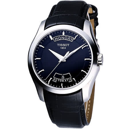 TISSOT Couturier 建構師系列大三針機械皮帶腕錶(T0354071605100)-黑