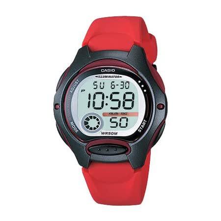 CASIO 電子美人彩色數字運動膠帶錶(紅)