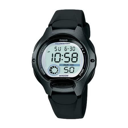CASIO 電子美人彩色數字運動膠帶錶(黑框/黑錶帶)