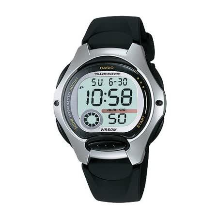 CASIO 電子美人彩色數字運動膠帶錶(黑)