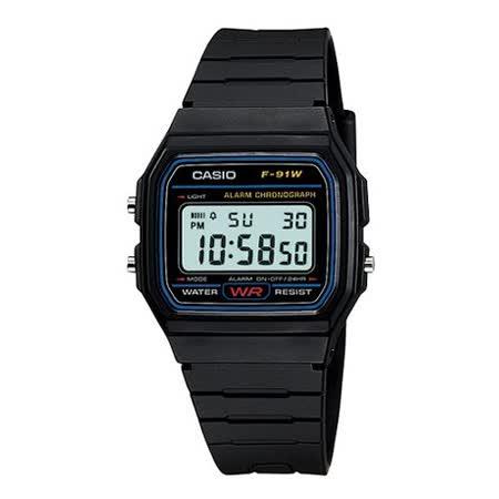 CASIO 復古潮流魅力電子錶(藍框)