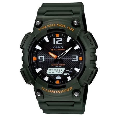 【私心大推】gohappyCASIO 型男個性太陽能雙顯錶(墨綠錶帶)評價如何國泰 世 華 sogo