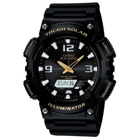 【勸敗】gohappyCASIO 型男個性太陽能雙顯錶(黑錶帶/金指針)評價如何sogo