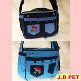 『J.D. PET寵物精品』- 帆布愛心寵物包(淺藍/深藍)