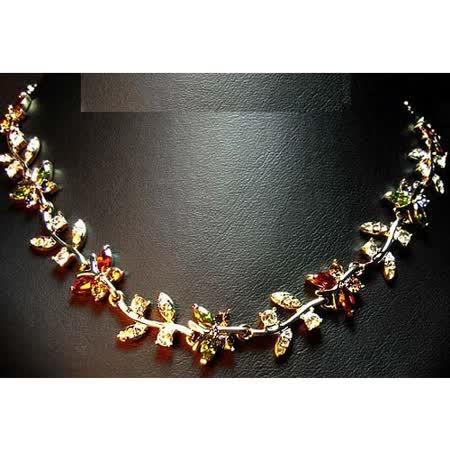 波西米亞仿真碎鑽石蝴蝶彩色小花朵水晶項鏈
