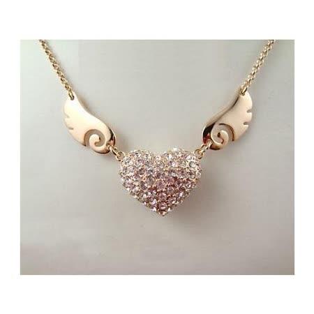 天使之翼愛心水晶項鏈