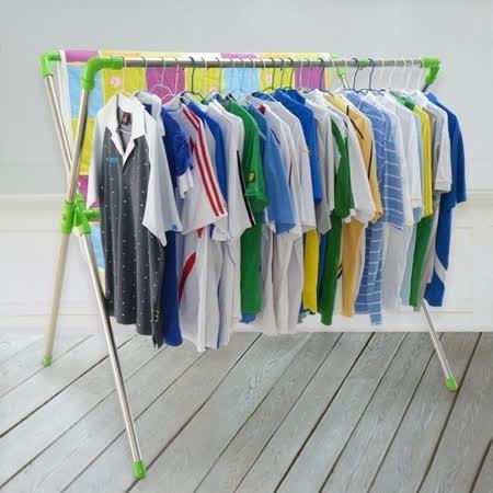 【LIFECODE】免螺絲-超大可伸縮X型曬衣架(果綠色)_送20個防風掛勾+曬鞋架